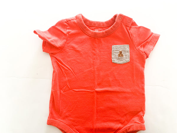Gap orange onesie with grey pocket  (6-12 months)