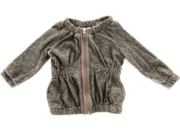 Joe fresh Heather grey cinched zip up sweater (size 1)