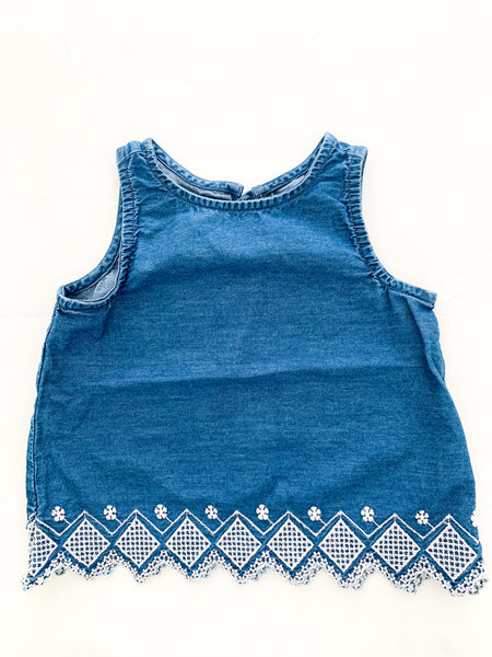 Old navy denim tank shirt w/ embroidery  (12-18 months)