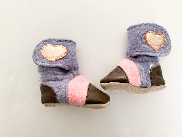 Nooks pink & purple knit & leather mocs size 0-6 month