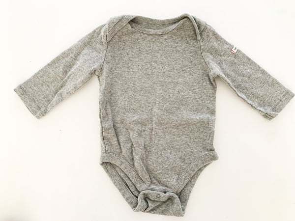 Gap grey LS onesie (3-6 months)