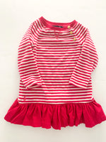 Ralph Lauren fuschia & white stripe velour dress with gold buttons & matching bloomers size 18 months
