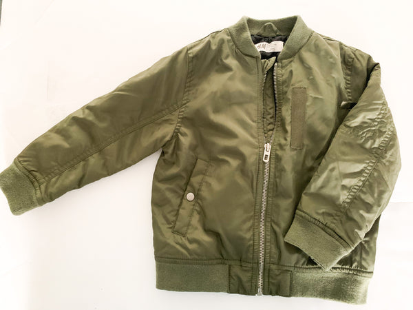 H&M army green bomber jacket size 3-4Y