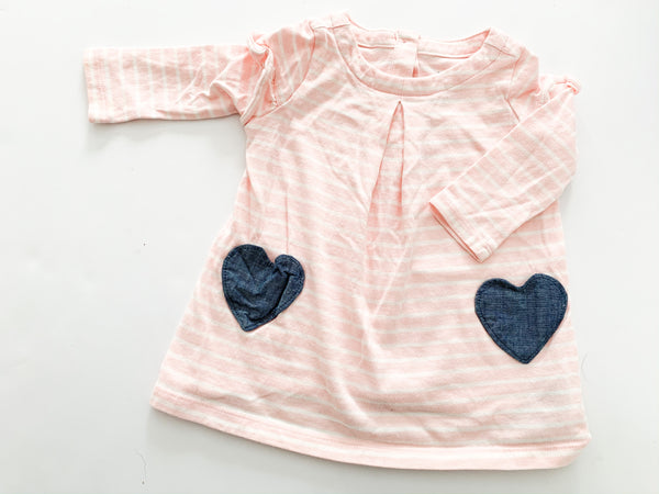 Gap pink striped dress with heart pockets (3-6 months)