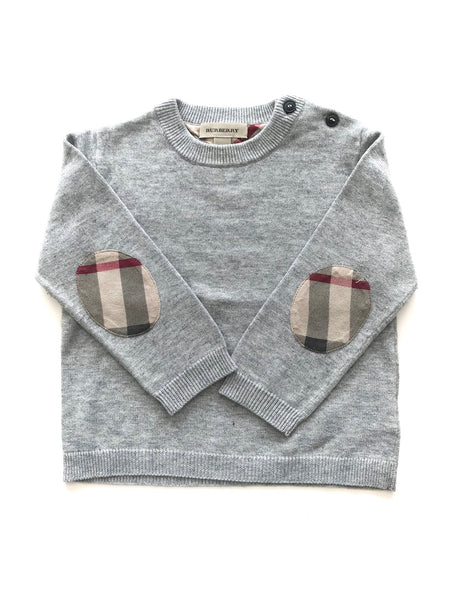 Burberry Grey sweater with plaid elbow patches size 18 months