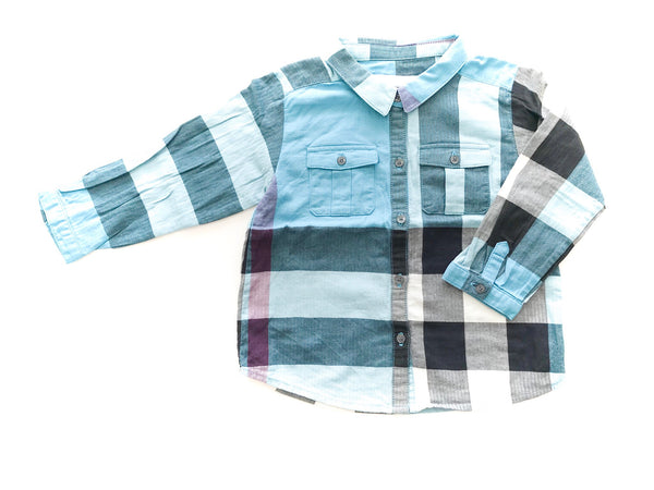 Burberry plaid blue button long sleeve size 24 months