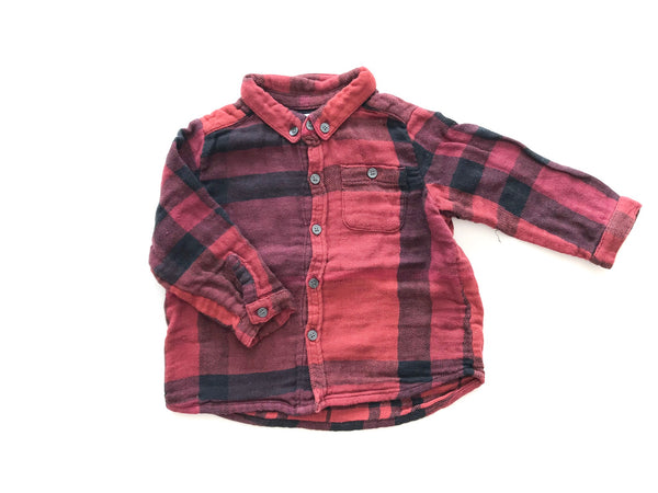 Burberry red flannel plaid button down size 9 months