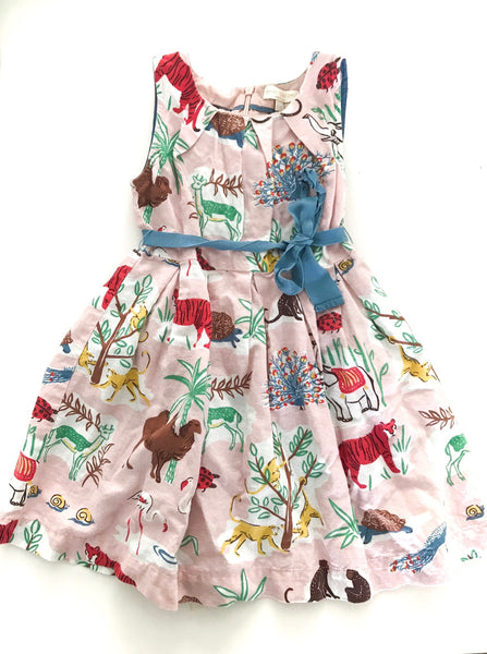 Mini Boden safari print dress with tie belt size 4-5 years