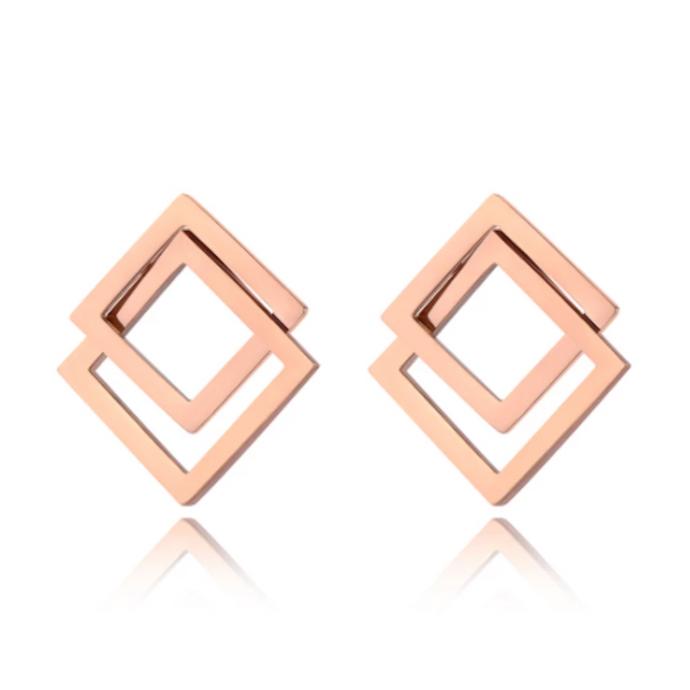Rose Gold Interlocking Earrings