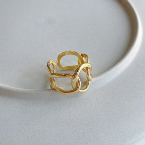 Wide Weave Chain Ring