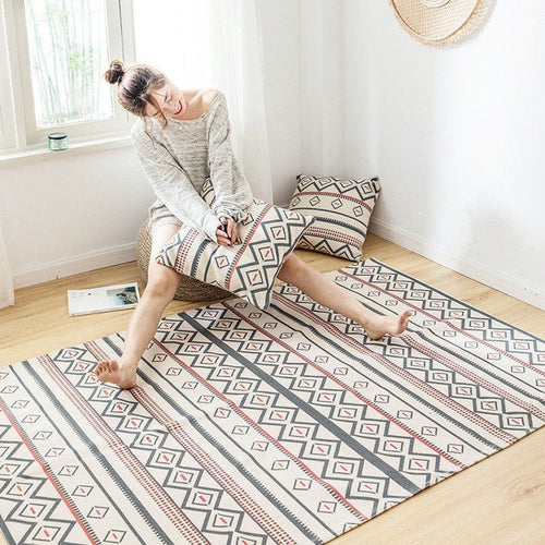 Geometric Cotton & Linen Carpet