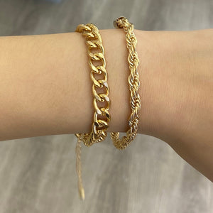 Chunky Twisted Gold Bracelets