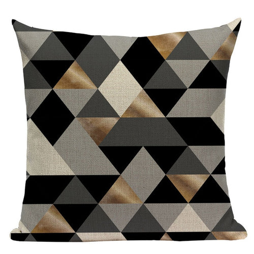 Black Triangle Grid Pillow Cover