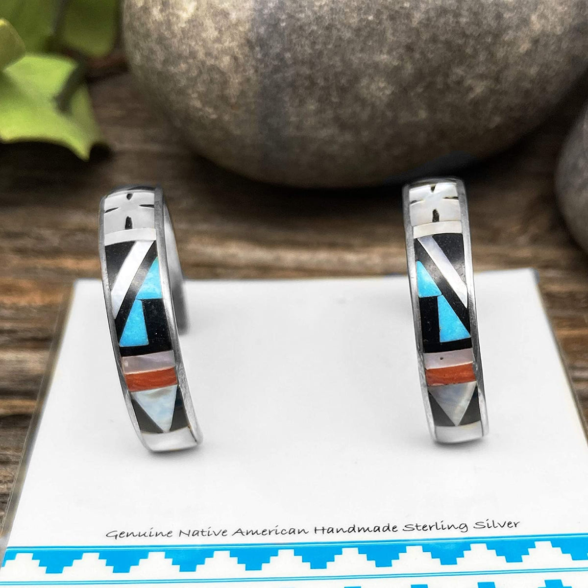 Genuine Stone Half Hoop Earrings, Zuni Native American USA Handmade, Turquoise, Onyx, Coral, Sterling Silver, Multicolor, Artist Signed