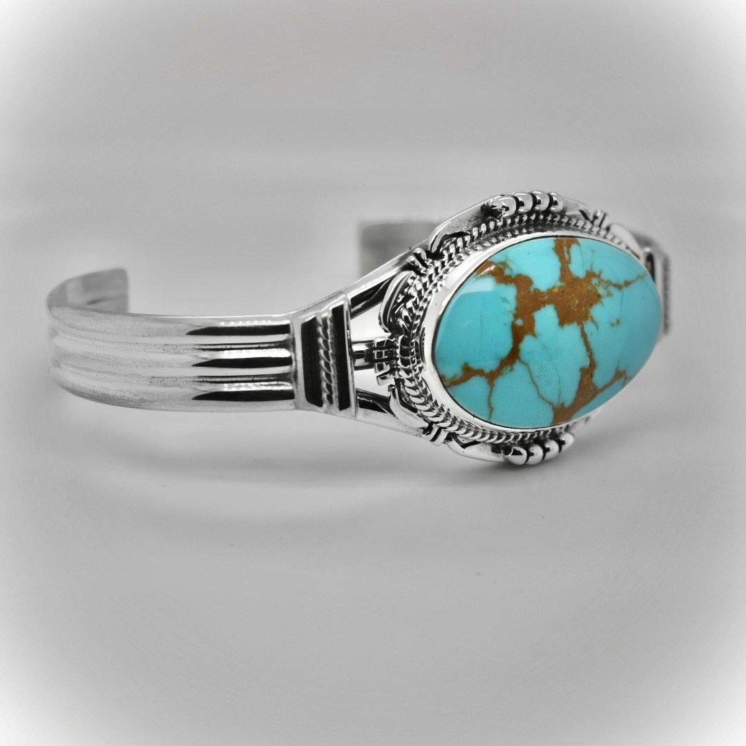 Genuine Kings Manassa Turquoise Cuff Bracelet, Sterling Silver, Authentic Navajo Native American USA Handmade, Artist Signed, One of a Kind, Size Women's Medium