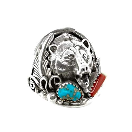 Genuine Kingman Turquoise and Coral Bear Ring, Size 13 and 14, Sterling Silver, Authentic Navajo Native American USA Handmade, Nickel Free, Southwest Jewelry for Men