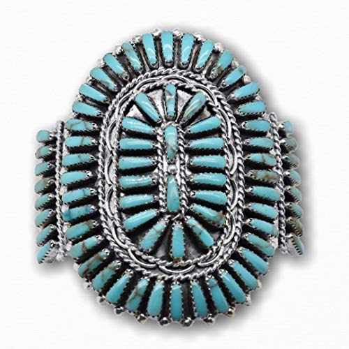 Genuine Sleeping Beauty Turquoise Cuff Bracelet, Sterling Silver, Petit Point Style, Authentic Zuni Native American USA Handmade, Artist Signed, Size Women's Medium