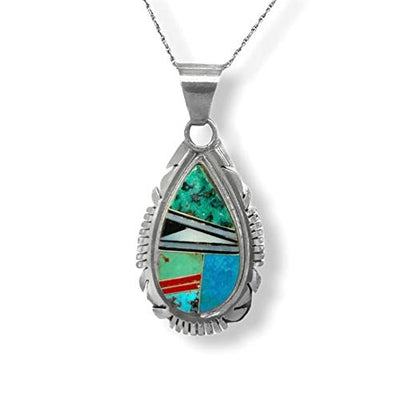 Genuine Stone Necklace, Turquoise, Coral, and Denim Lapis, Pendant with Chain, Zuni Native American USA Handmade, 925 Sterling Silver, Artist Signed, Natural Stone, Nickel Free