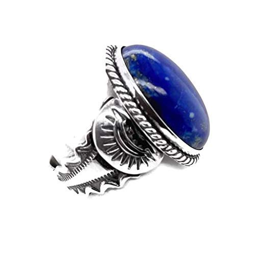Genuine Lapis Lazuli Ring,Size 11, Sterling Silver, Authentic Navajo Native American USA Handmade, Nickel Free, Southwest Jewelry for Women