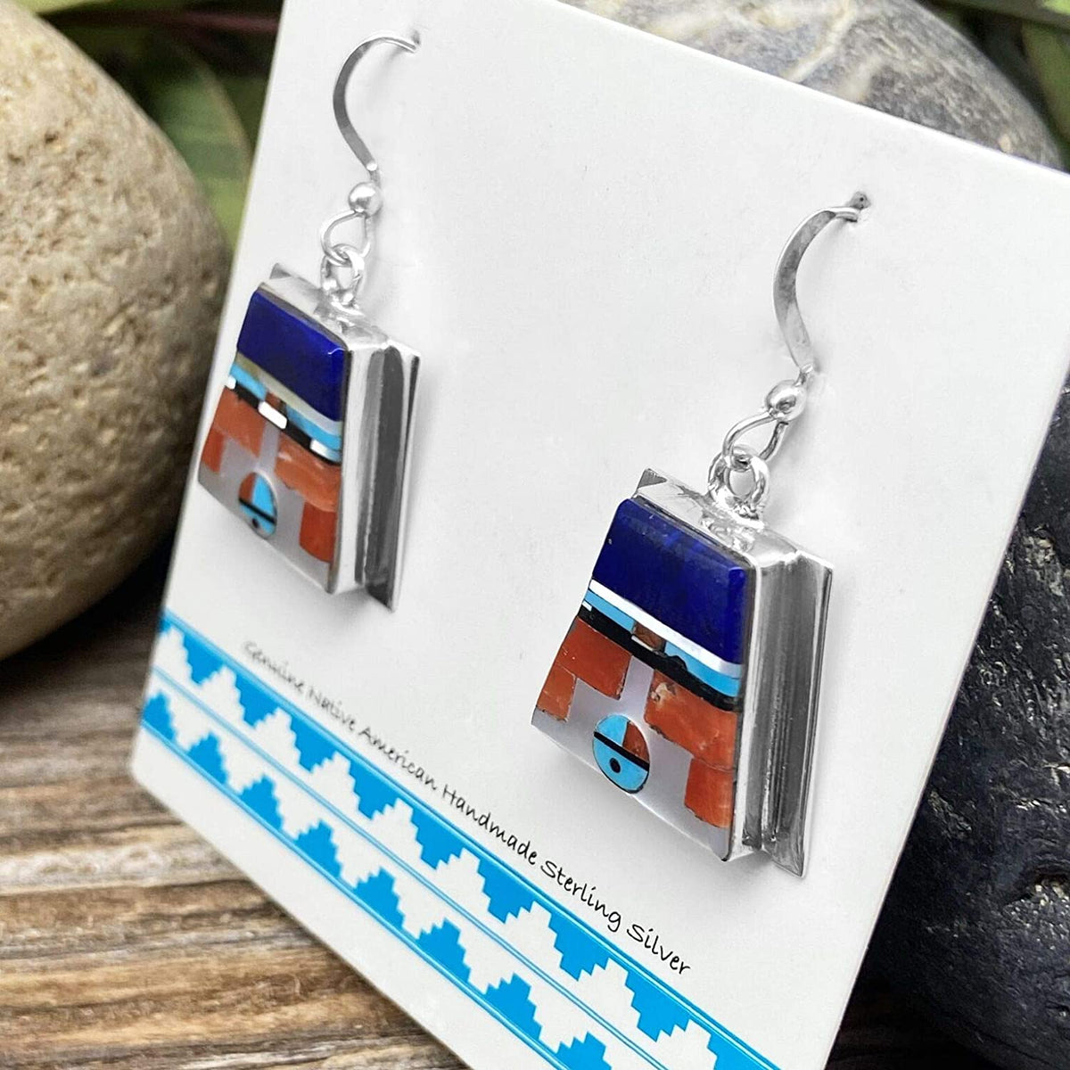 Genuine Stone Zuni Sunface Earrings, 925 Sterling Silver, Native American USA Handmade, Artisan Signed, Nickle Free, French Hook
