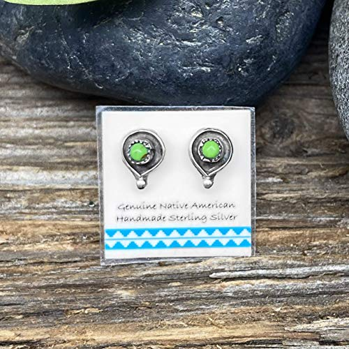 10mm Bright Green Gaspeite Stud Earrings in 925 Sterling Silver, Native American USA Handmade, Nickle Free, Natural Stone, Round
