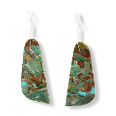 Genuine Green Royston Turquoise Slab Earrings, 925 Sterling Silver, Native American Handmade, Nickel Free, French Hook