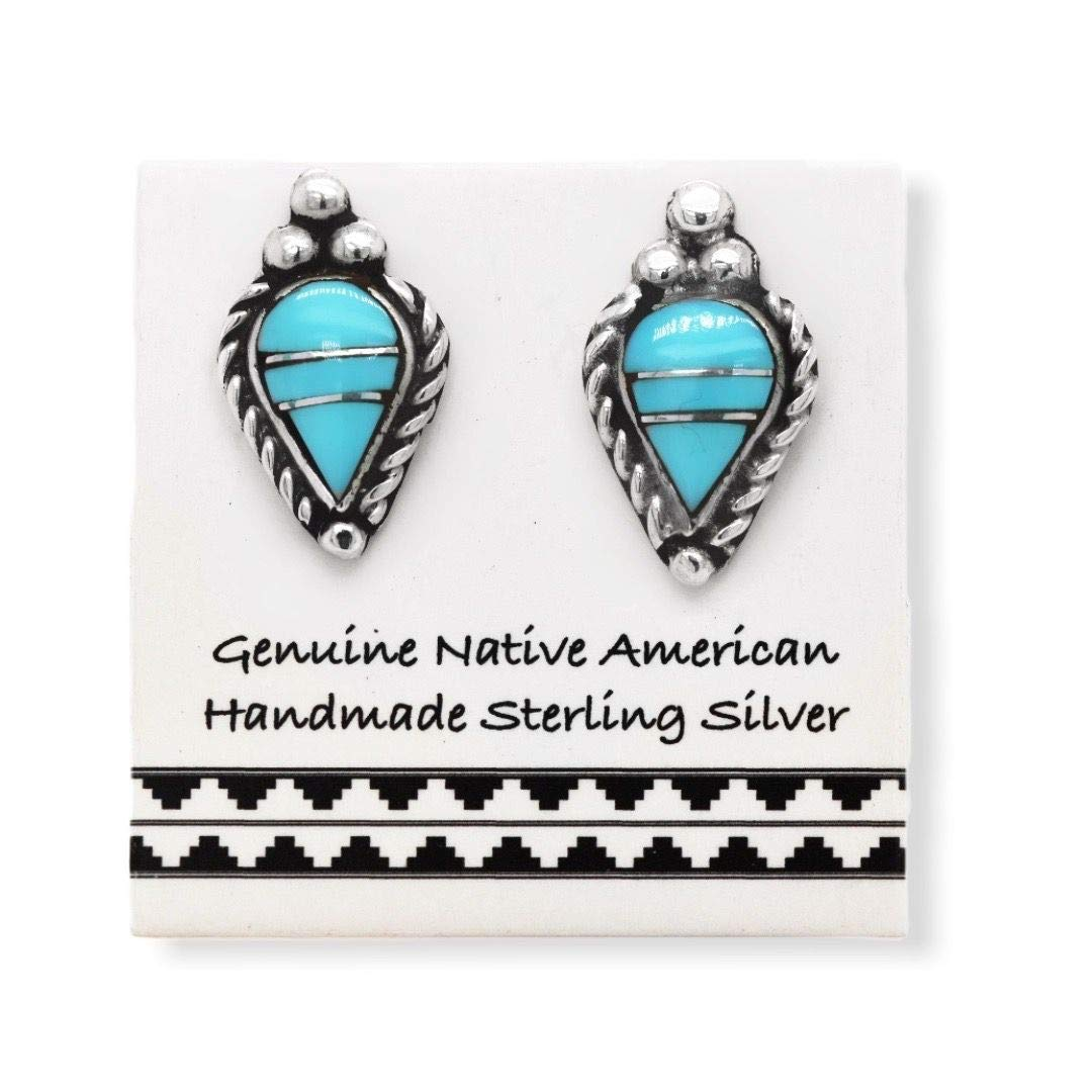 Genuine Sleeping Beauty Turquoise Stud Earrings in 925 Sterling Silver, Native American USA Handmade, Nickle Free, Southwest Inlay Teardrop