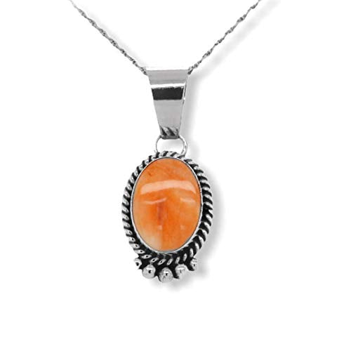 Genuine Orange Spiny Oyster Shell Necklace Set, Pendant with Chain, Navajo Native American USA Handmade, 925 Sterling Silver, Artist Signed, Natural Shell, Nickle Free