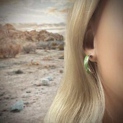 Genuine Green Gaspeite Hoop Earrings, 925 Sterling Silver, Native American Handmade, Genuine Stone, Nickel Free
