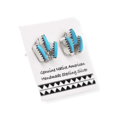 9mm Genuine Sleeping Beauty Turquoise Stud Earrings in 925 Sterling Silver, Needlepoint Design, Authentic Native American, Handmade in the USA, Nickle Free