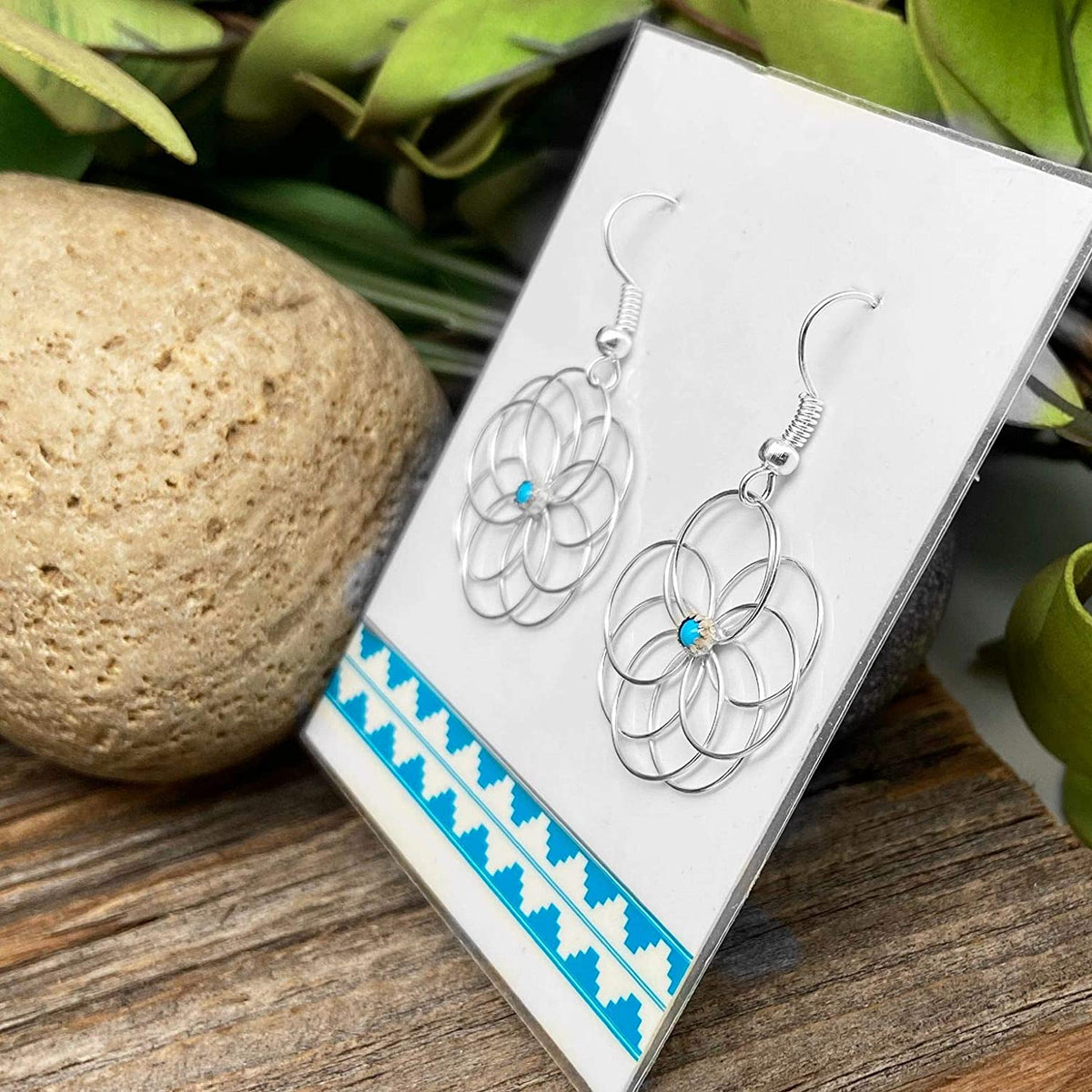 Genuine Sleeping Beauty Turquoise Earrings, 925 Sterling Silver, Native American USA Handmade, French Hook Style, Nickle Free