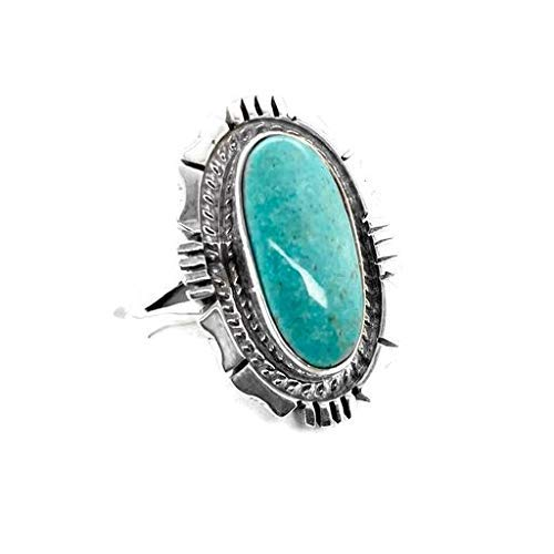Genuine Sleeping Beauty Turquoise Ring, Size 7, Sterling Silver, Authentic Navajo Native American USA Handmade, Nickel Free, Southwest Jewelry