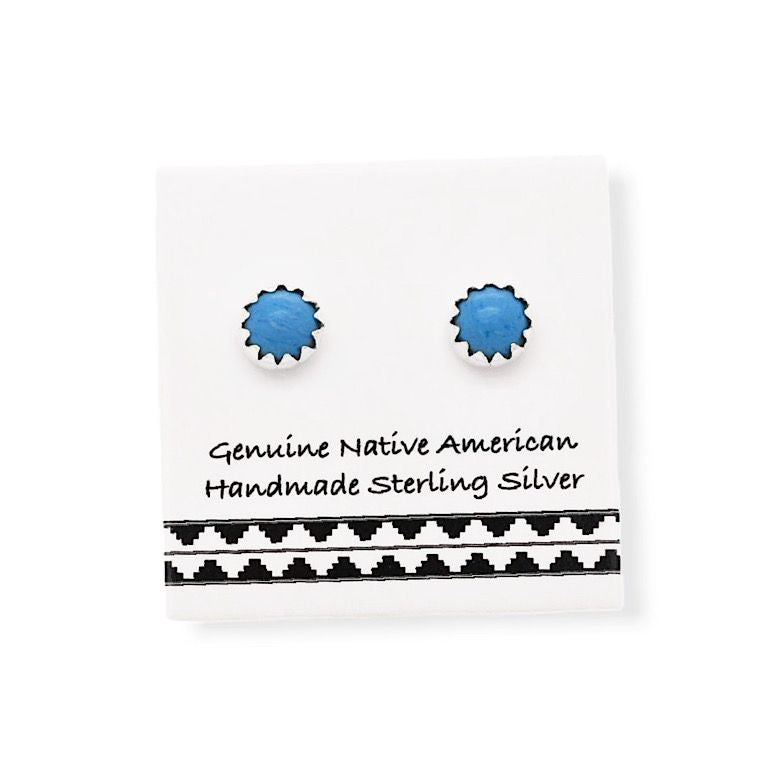 5mm Denim Lapis Stud Earrings in 925 Sterling Silver, Authentic Native American Handmade, Nickle Free