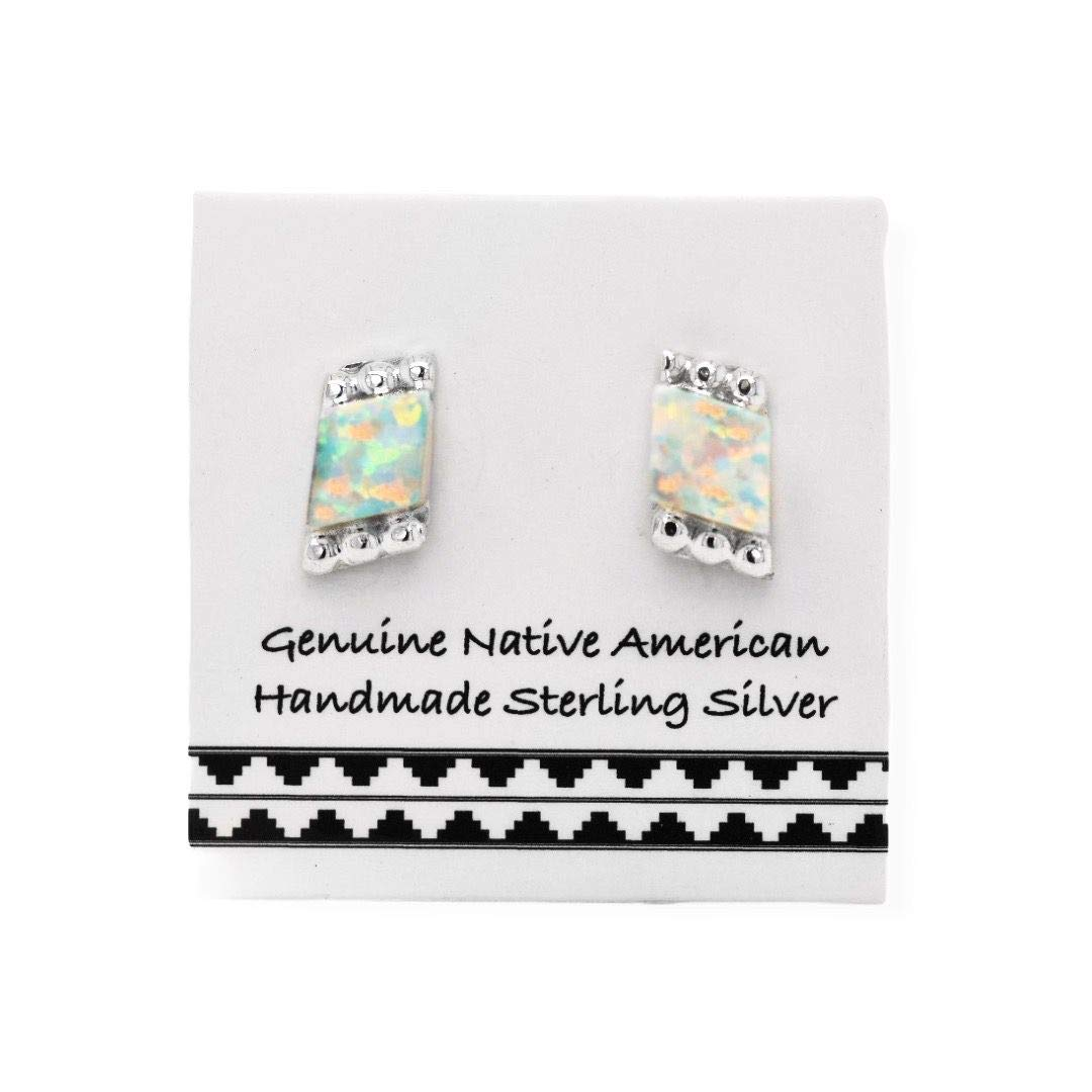 7mm Desert Opal Stud Earrings, 925 Sterling Silver, Native American USA Handmade, Nickle Free, White Synthetic Opal
