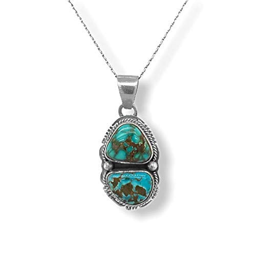 Genuine Sierra Nevada Turquoise Necklace Set, Pendant with Chain, Navajo Native American USA Handmade, 925 Sterling Silver, Artist Signed, Natural Stone, Nickle Free
