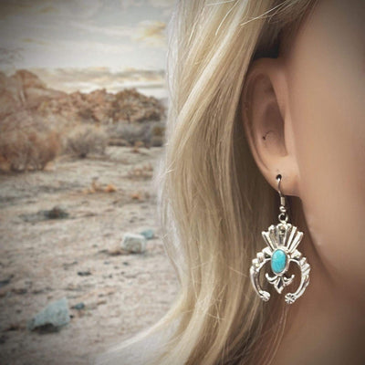 Genuine Sleeping Beauty Turquoise Naja Earrings, 925 Sterling Silver, Native American USA Handmade, French Hook Style, Nickel Free