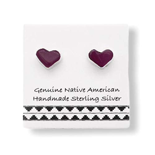 Purple Shell Stud Earrings in 925 Sterling Silver, Authentic Native American USA Handmade, Southwest Jewelry