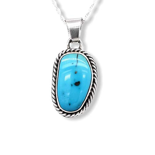 Genuine Kingman Turquoise Necklace, Pendant with Chain, Navajo Native American USA Handmade, 925 Sterling Silver, Artist Signed, Natural Stone, Nickel Free