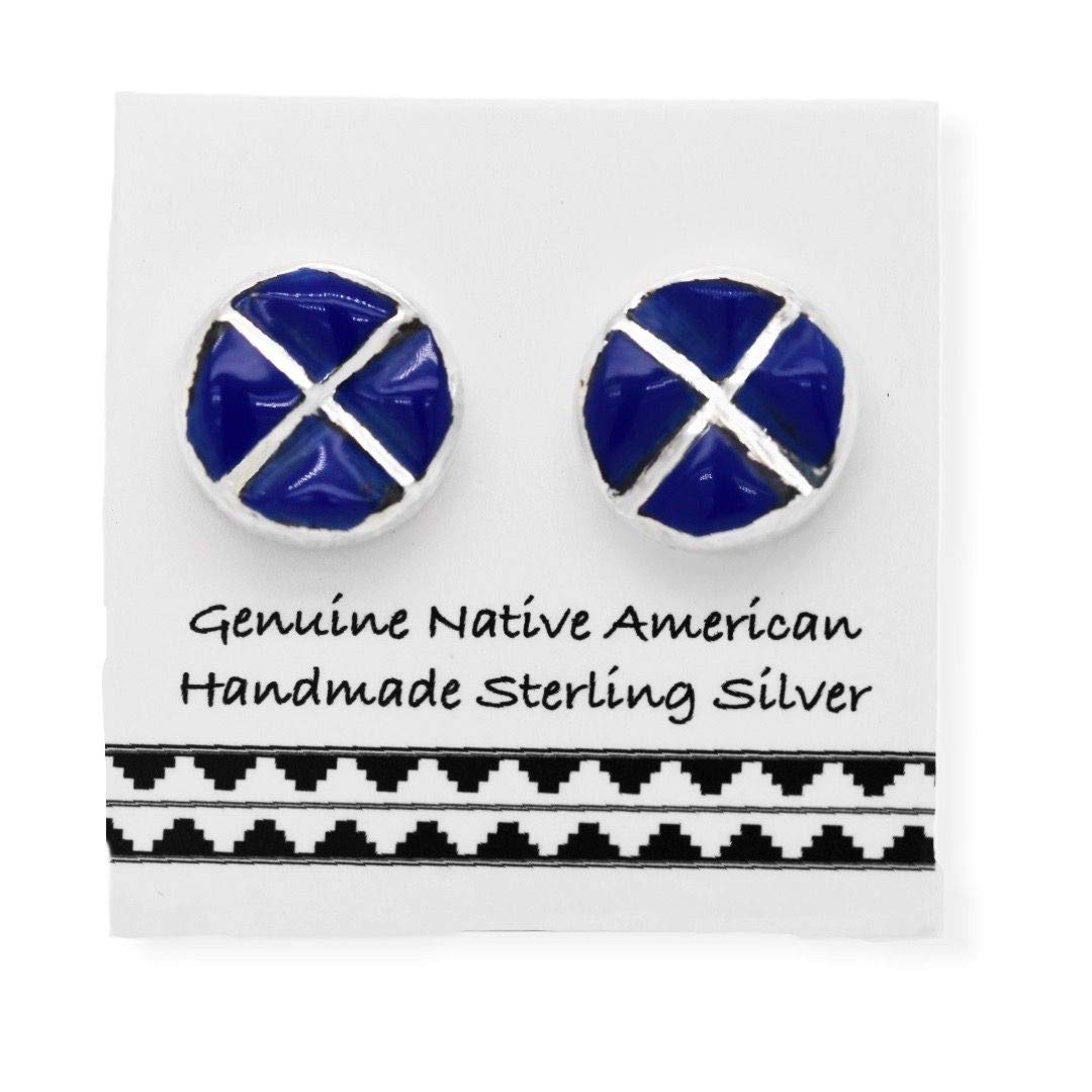 Genuine Lapis Lazuli Stud Earrings, 925 Sterling Silver, Authentic Native American, Handmade in the USA, Nickle Free, Navy Blue