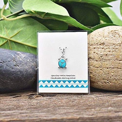Genuine Sleeping Beauty Turquoise Turtle Necklace, Pendant and Chain Set, 925 Sterling Silver, Native American USA Handmade, Nickle Free