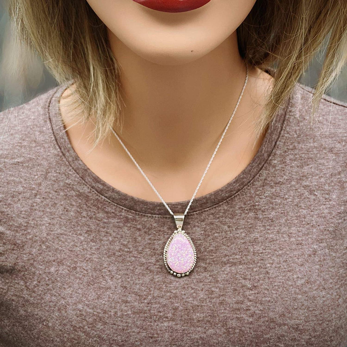 Pink Desert Opal Necklace, Pendant and Chain Set, 925 Sterling Silver, Native American USA Handmade, Nickle Free, Synthetic Pink Opal