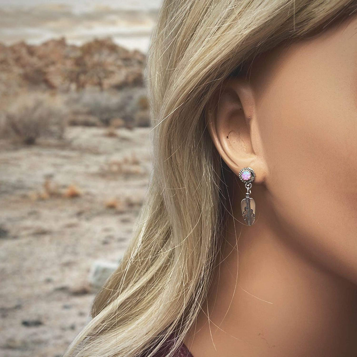 Pink Desert Opal Feather Earrings, 925 Sterling Silver, Native American USA Handmade, Post Style, Nickle Free, Pink Synthetic Opal