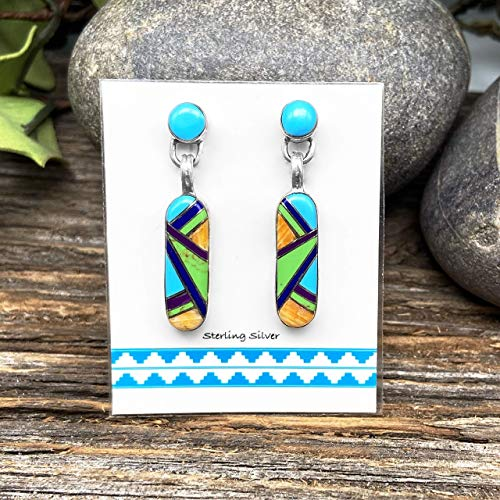 Genuine Stone Multicolor Inlay Earrings, 925 Sterling Silver, Native American USA Handmade, Nickle Free, Post Style