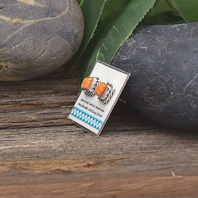 Orange Spiny Oyster Shell Earrings in 925 Sterling Silver, Native American USA Handmade, Nickle Free, Natural Shell, Square
