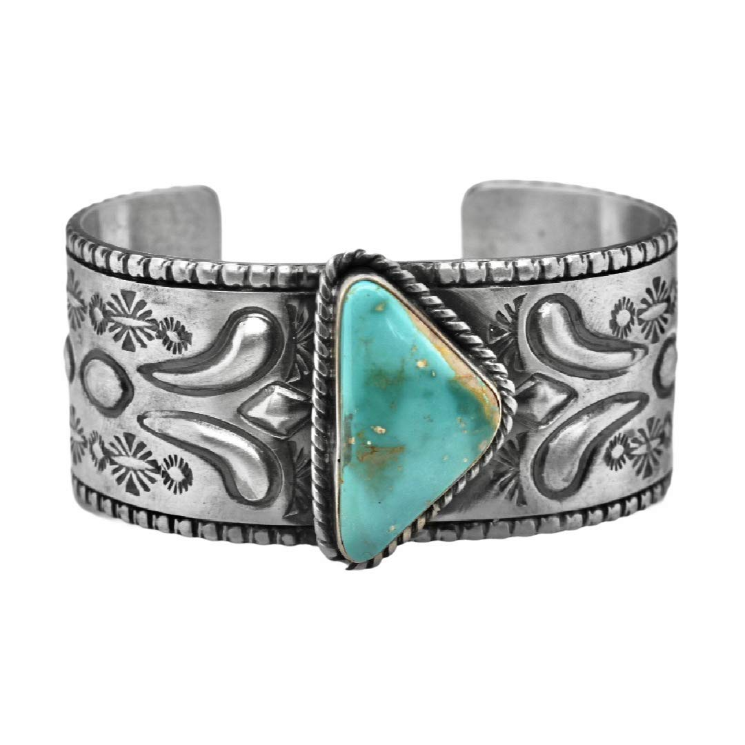 Genuine Cerillos Turquoise Cuff Bracelet, Sterling Silver, Authentic Navajo Native American USA Handmade, Artist Signed, One of a Kind, Size Women's Large