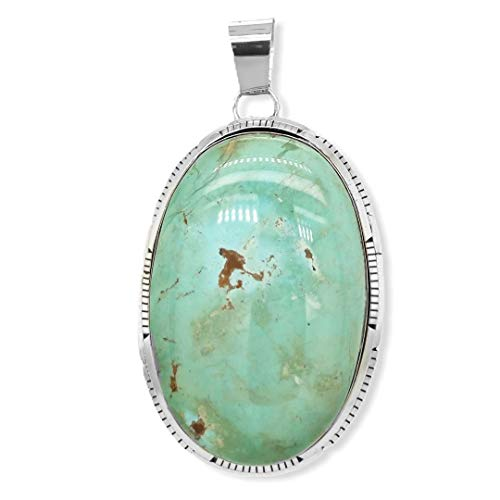 Genuine Royston Turquoise Statement Pendant, Sterling Silver, Authentic Navajo Native American USA Handmade, Artist Signed, Nickel Free, Southwest Jewelry