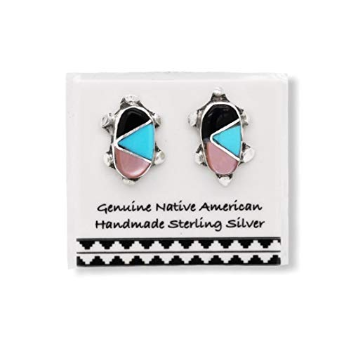 Genuine Sleeping Beauty Turquoise, Onyx, and Pink Shell Earrings in 925 Sterling Silver, Inlay Turtle Design, Authentic Native American Handmade in the USA, Nickle Free