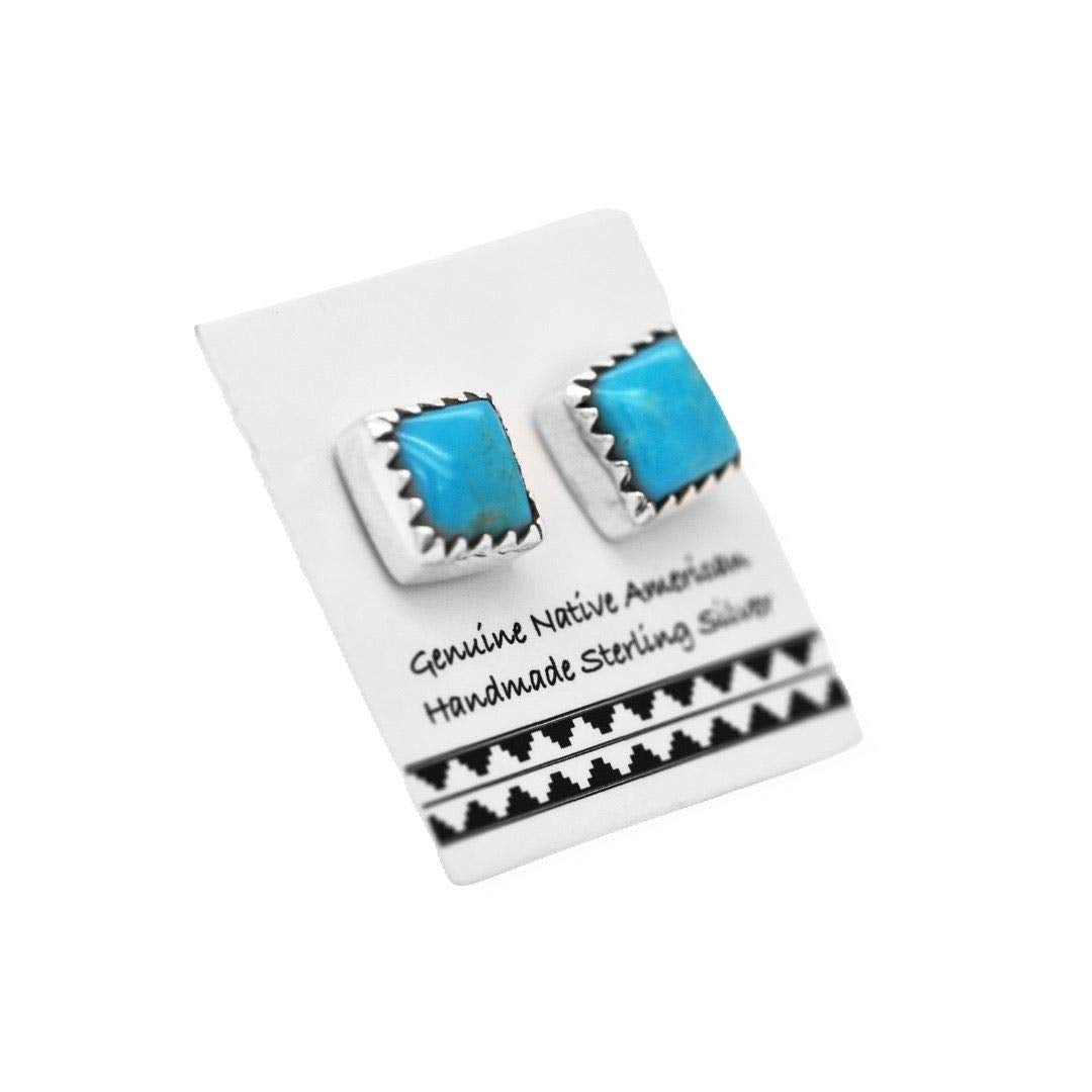 7mm Genuine Sleeping Beauty Turquoise Stud Earrings in 925 Sterling Silver, Native American USA Handmade, Nickle Free, Square
