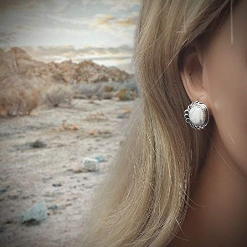Genuine Howlite Earrings, 925 Sterling Silver, Native American USA Handmade, Nickel Free