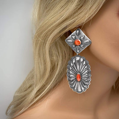 Genuine Red Spiny Oyster Statement Earrings, Oxidized Sterling Silver, Authentic Navajo Native American USA Handmade, Artist Signed, Nickle Free, Southwest Vintage Style